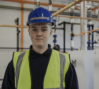 James Mercer Group LTD mechanical building engineering service worker with PPE