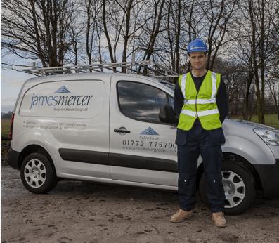 James Mercer Group LTD van and employee